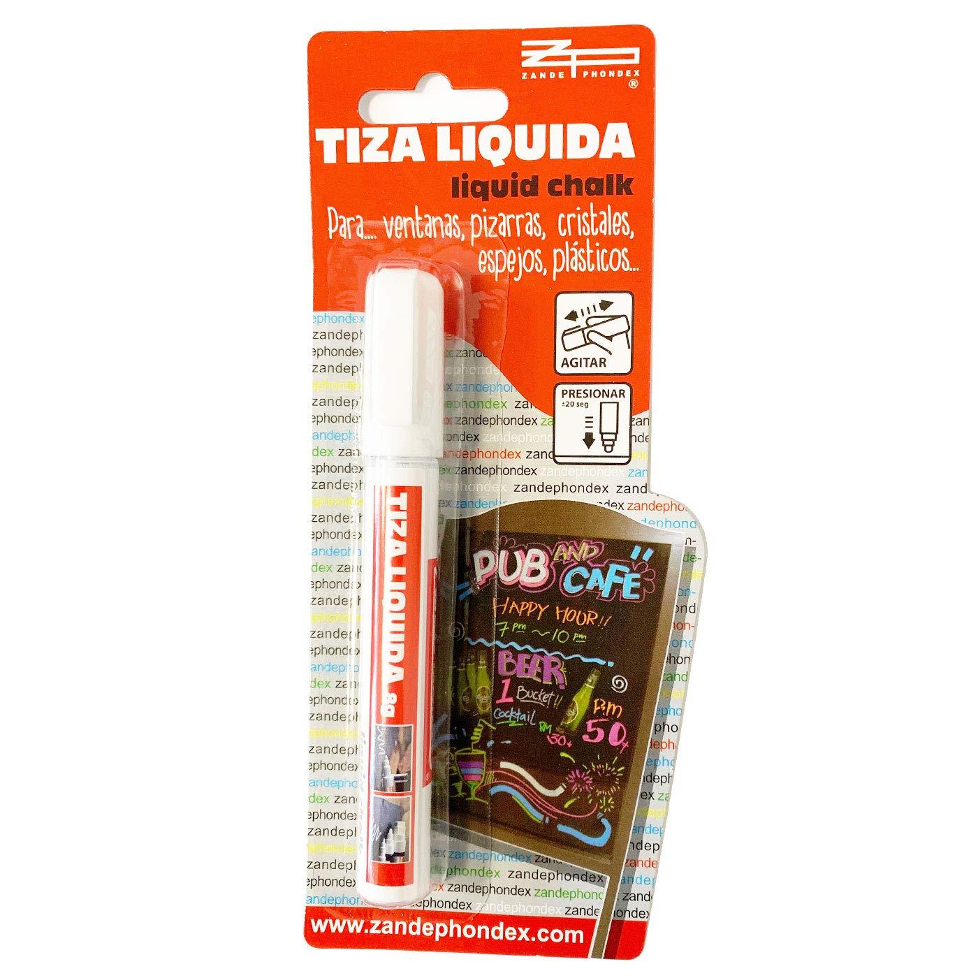 Zande phondex Rotulador Blanco de Tiza líquida 8g: Amazon.es ...