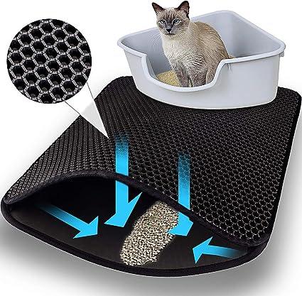 Ducomi - Alfombrilla para Arena de Gato - Alfombra para baño de Gatos de Doble Capa - Bandeja para Arena de Suelo de Goma Antideslizante