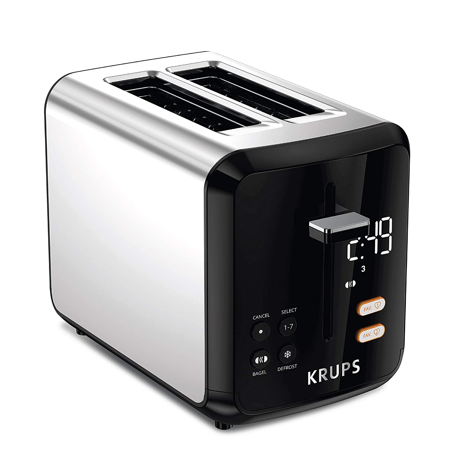 KRUPS KH320D50 My Memory Digital Stainless Steel Toaster, 7 Browning Level with personalized setting, Black (Renewed)