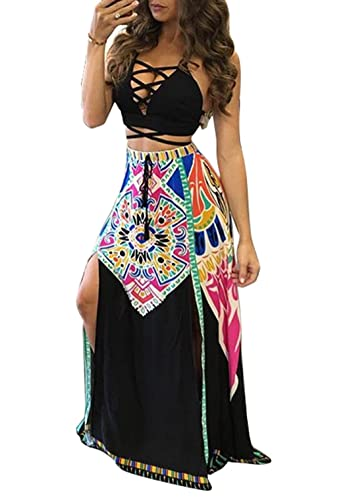 Women Sexy Lace Up Bandage Vintage Print Crop Tops Skirt Clubwear 2 Pieces Dress