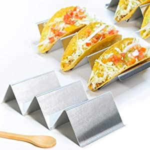 Taco Holder Set of 4 and FREE Serving Spoon - Stainless Steel Taco Stand - Professional Taco Rack And Perfect for Taco Nights - Oven, Grill and Dishwasher Safe by KUCHINA