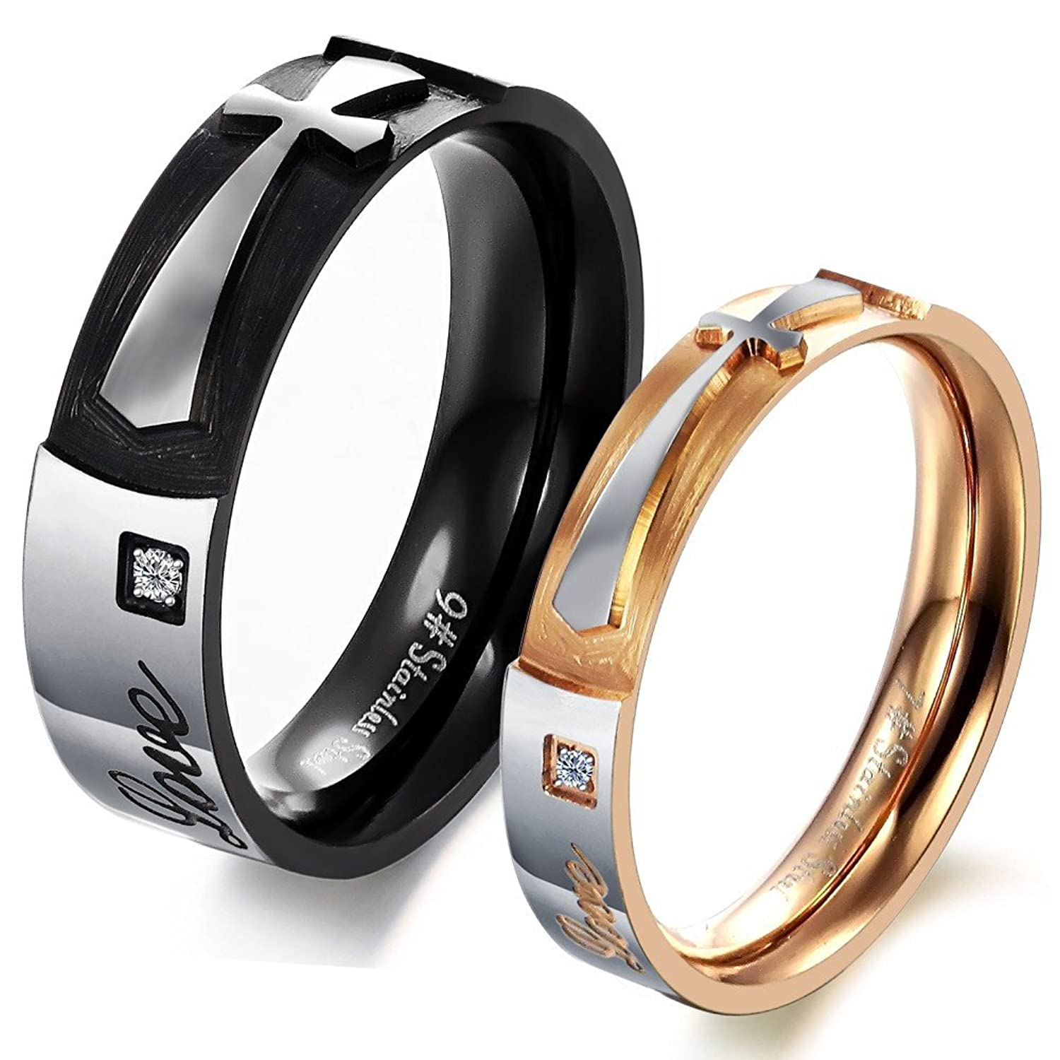 rings fashion steel wedding wholesale jewelry stainless engagement jc couple