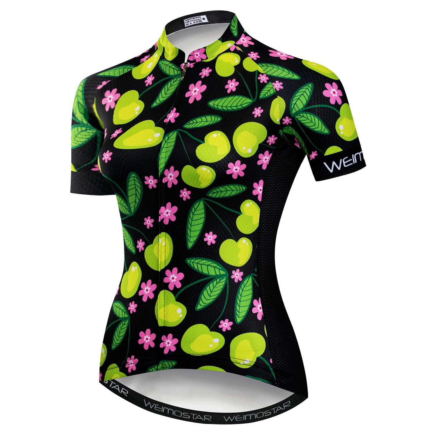 Women Cycling Jersey Short Sleeve Breathable Pockets Flower redorange