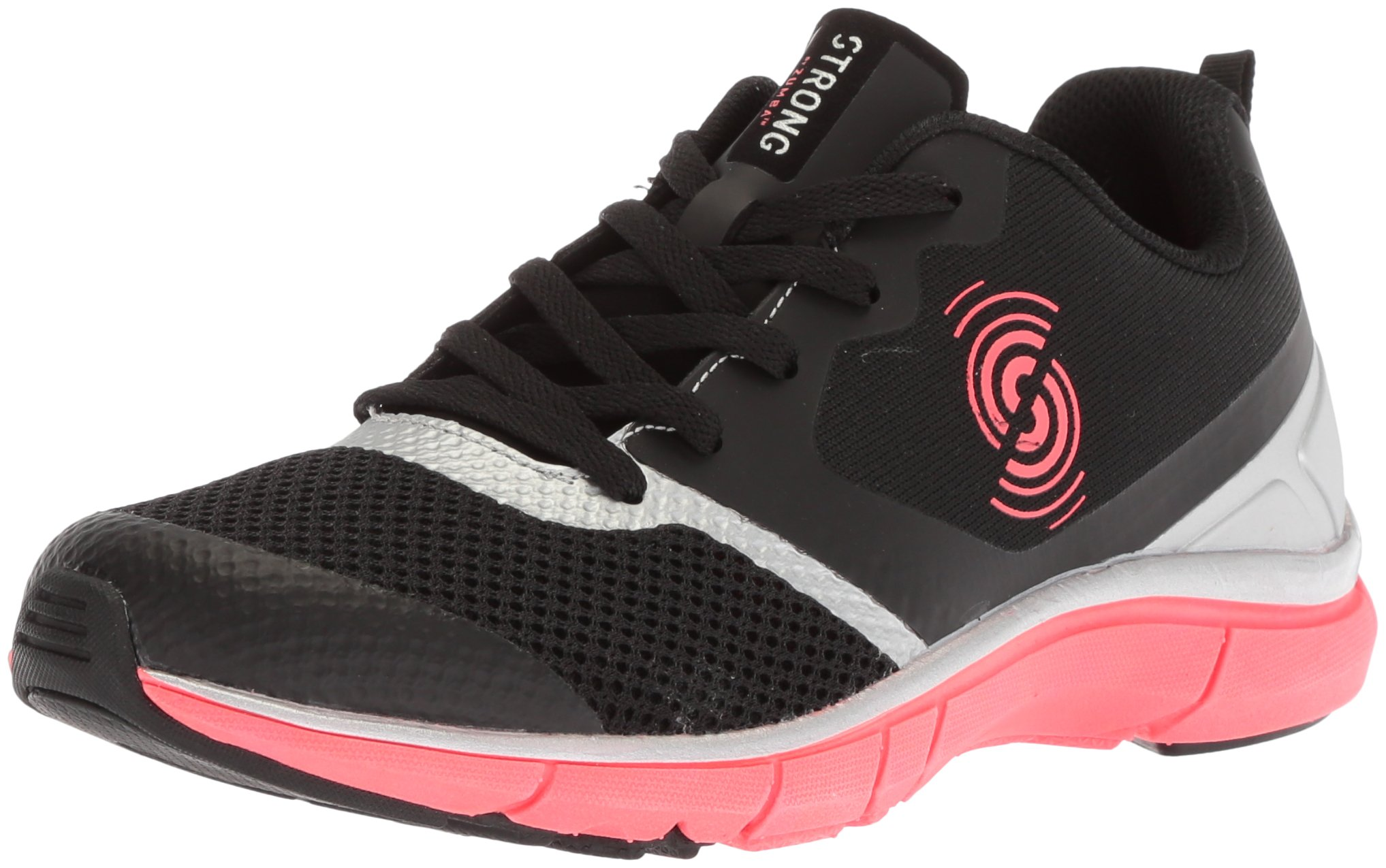 STRONG by Zumba Women's Fly Fit Athletic Workout Sneakers with High Impact Compression, Black/Silver, 7.5