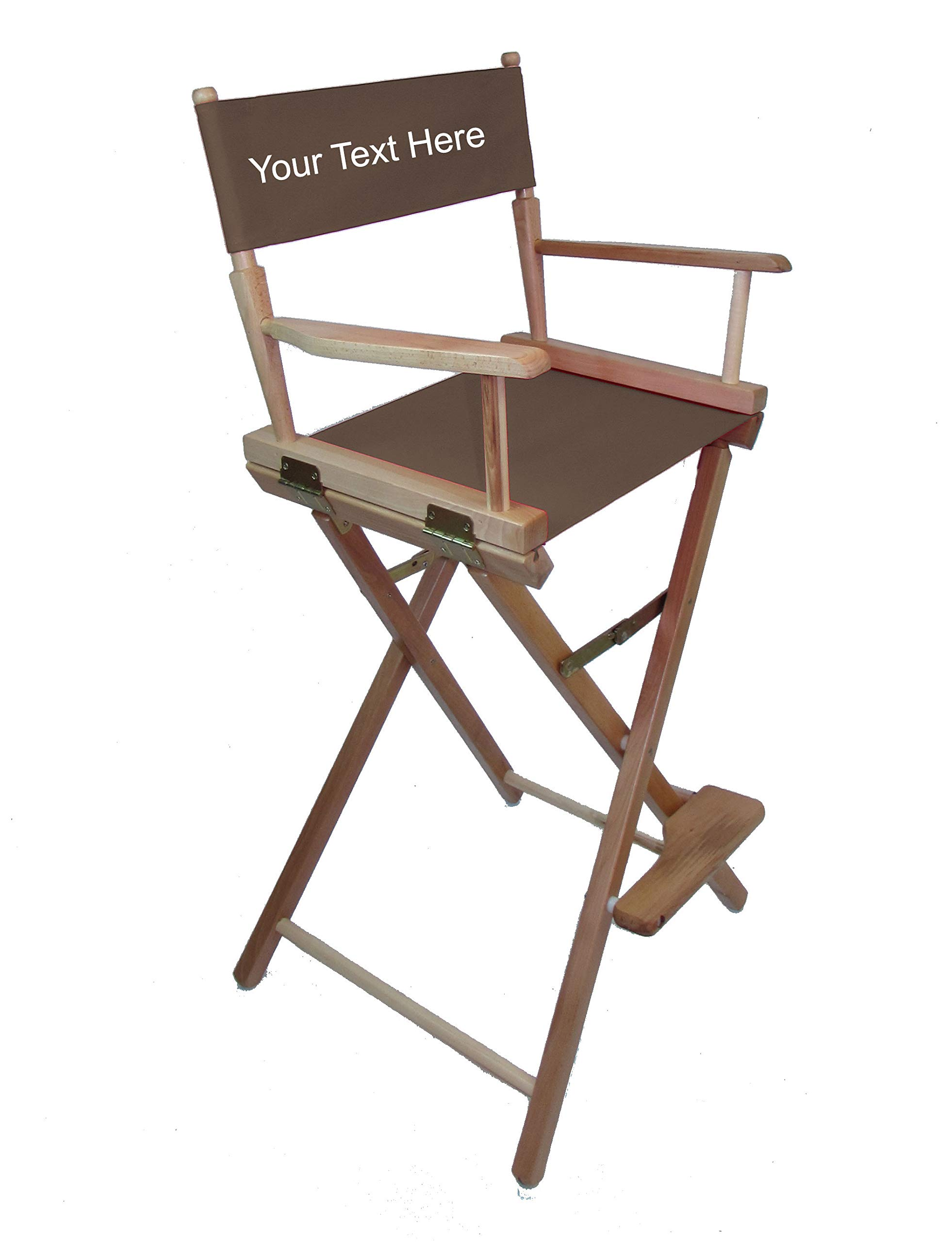 Personalized Imprinted Gold Medal Commercial 30'' Bar Height Natural Frame Directors Chair - Espresso by TLT