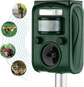 FAYINWBO Solar Ultrasonic Animal Repeller - Outdoor with Motion Sensor and Strobe Light - Expel-Dogs,Cats,Raccoon,Mice,Birds,Skunks,Etc.