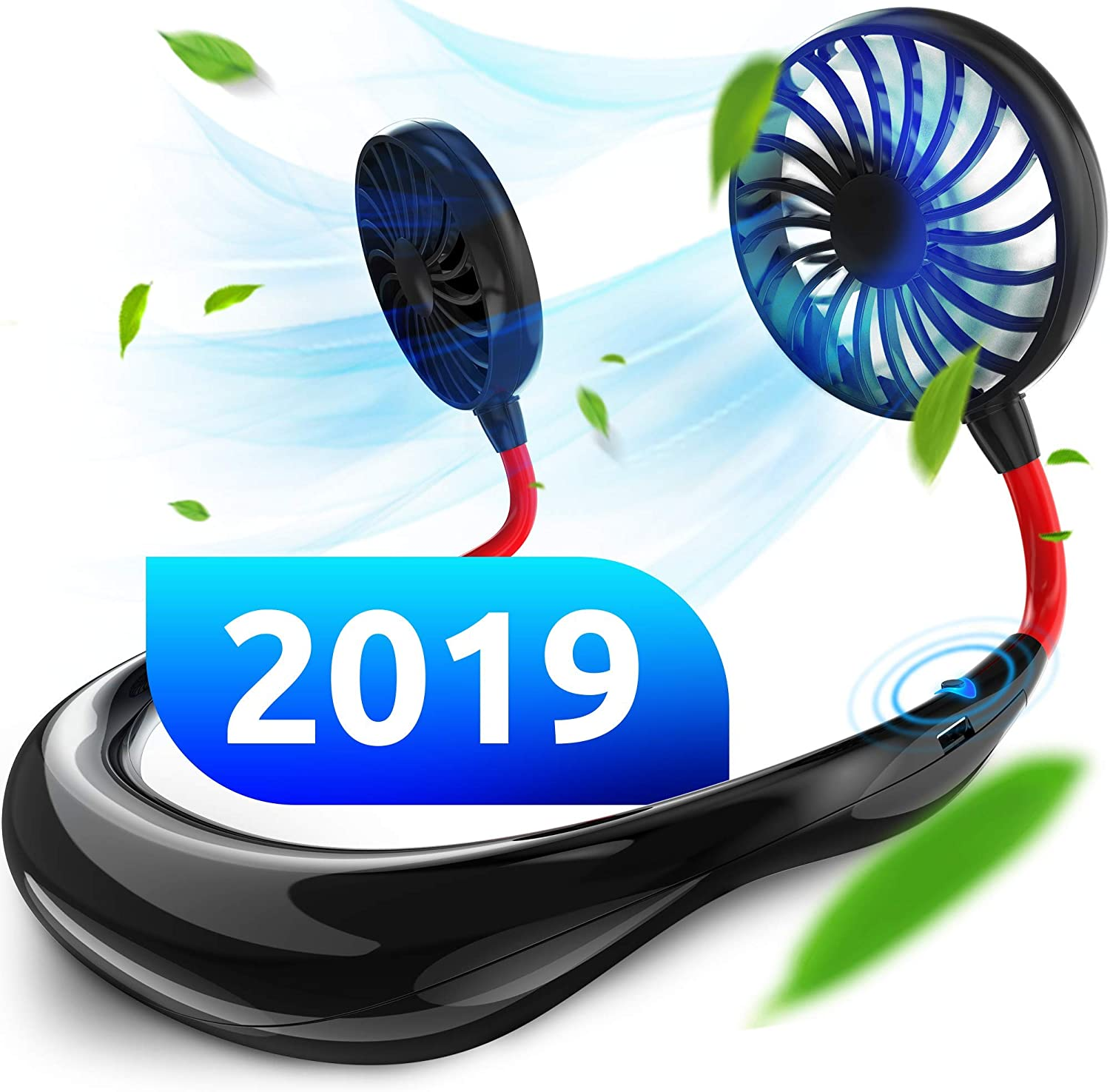Portable Hand Free Fan USB Rechargeable 2000mAh Battery Sports Neck Fan Neckband 360 Degree Adjustable Necklace Personal Mini Fan 3 Speeds 12 Hours Working for Office Travel Outdoor(Black)