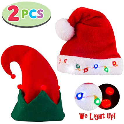 61978dd217827 Image Unavailable. Image not available for. Color  Blinking Light-up Plush  Red Santa Hat ...