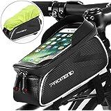 DeFe Borsa Bici Telaio Borse Bicicletta Manubrio Impermeabile con Touchscreen TPU Sensibile (Fino a 6,2 Pollici), Borsa Telefono MTB Porta Cellulare Bici per iPhone X/ 8/ Plus Samsung S9/ S8/ S7