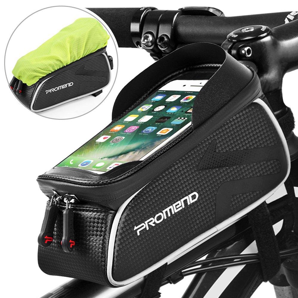 Negro. Spalyer Bolsa de Bicicleta Bolsa M/óvil para Tubo Superior de Cuadro de Bicicleta Bolso Impermeable y Port/átil
