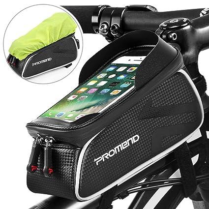 DeFe Bolsa Bicicleta Cuadro Impermeable Bolso Manillar Bici con Pantalla Táctil Sensible, Marco Tubo Funda Movil Bicicleta para iPhone X/ 8/ Plus ...