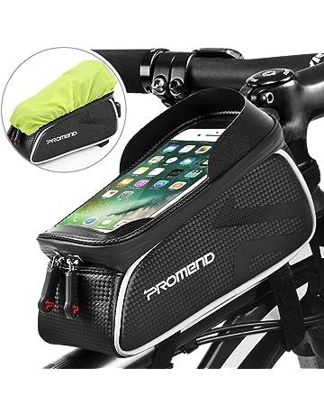c28f954830 DeFe Sacoche Vélo Cadre Etanche Top Tube Sacoche Cadre VTT pour Telephone  avec Écran Tactile Sensible