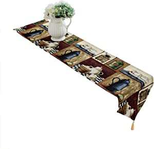 LYJEE 14 x 71 inch Coffee Theme Table Runner Cotton-Polyester Washable Table Runner for Dining Room Kitchen Table Decor,Outdoor or Indoor Parties…