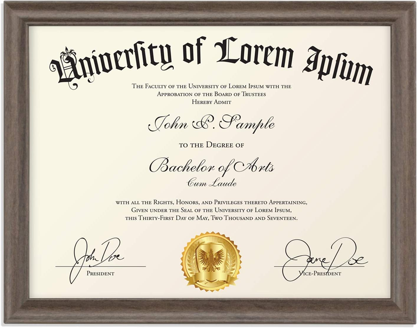 Icona Bay 8.5x11 (22x28 cm) Hickory Brown Certificate Frame, Contemporary Diploma Frame, Composite Wood Document Frame for Walls or Table Top, Lakeland Collection