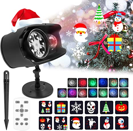12 Pattern LED Fairy Laser Projector Moving Light Holiday Xmas Decor Outdooor