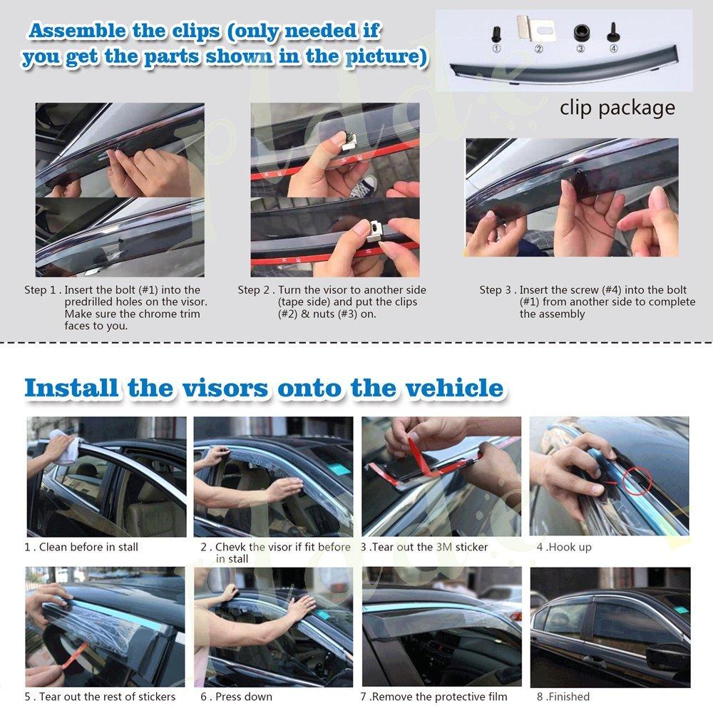 PLDDE 4pcs Smoke Tint With Chrome Trim Outside Mount Tape On//Clip On Style PVC Sun Rain Guard Window Visors Fit 11-15 Kia Optima