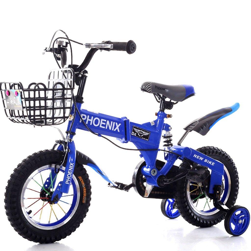 子供の自転車2-12歳の赤ん坊の子供の自転車の男性と女性のショックアブソーバーの赤ちゃんの車 (色 : 青, サイズ さいず : 14 inches) B07D8NDQV3 14 inches|青 青 14 inches
