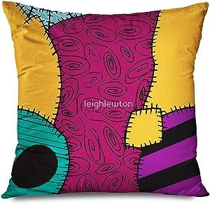 "TETUDA Throw Pillow Cover Square 18""x18"" Nightmare Before Christmas Sally Pattern Merry Christmas Decorative Pillowcase Home Decor Zippered Cushion Case"