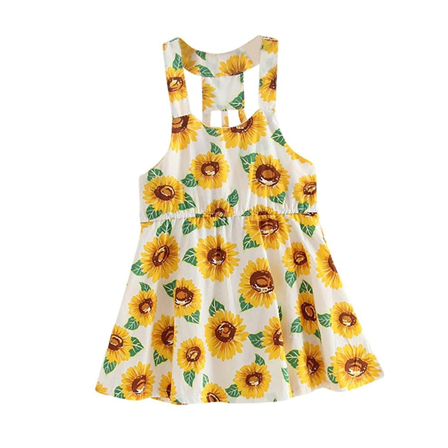 568ac04b1 Cotton blend. Soft and not irritating to baby's skin. Pattern type:  sunflower print; Sleeve length: Sleeveless Silhouette: A-Line and backless