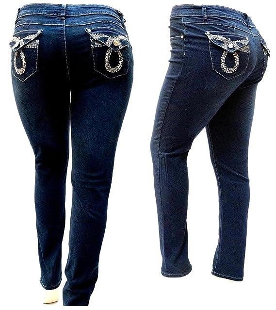 Amazon.com: 5ive azul oscuro para mujer Plus tamaño Denim ...