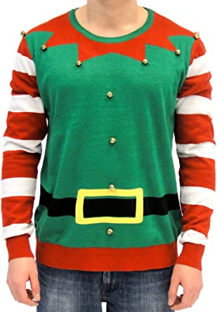 Christmas Elf Sweater//Hoodie Adult Knit Red Green Ugly Christmas Sweater