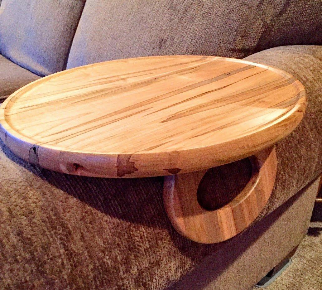 Sofa Arm Snack Tray Table -- Ambrosia Maple (Round)