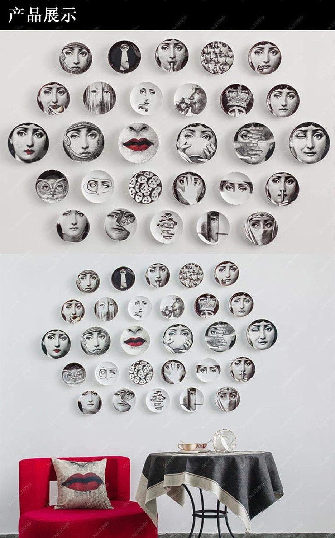WYTDD Decorazione murale originale del piatto dattaccatura del piatto decorativo del piatto ceramico in bianco e nero originale dellimpressione nordica 10 pollici