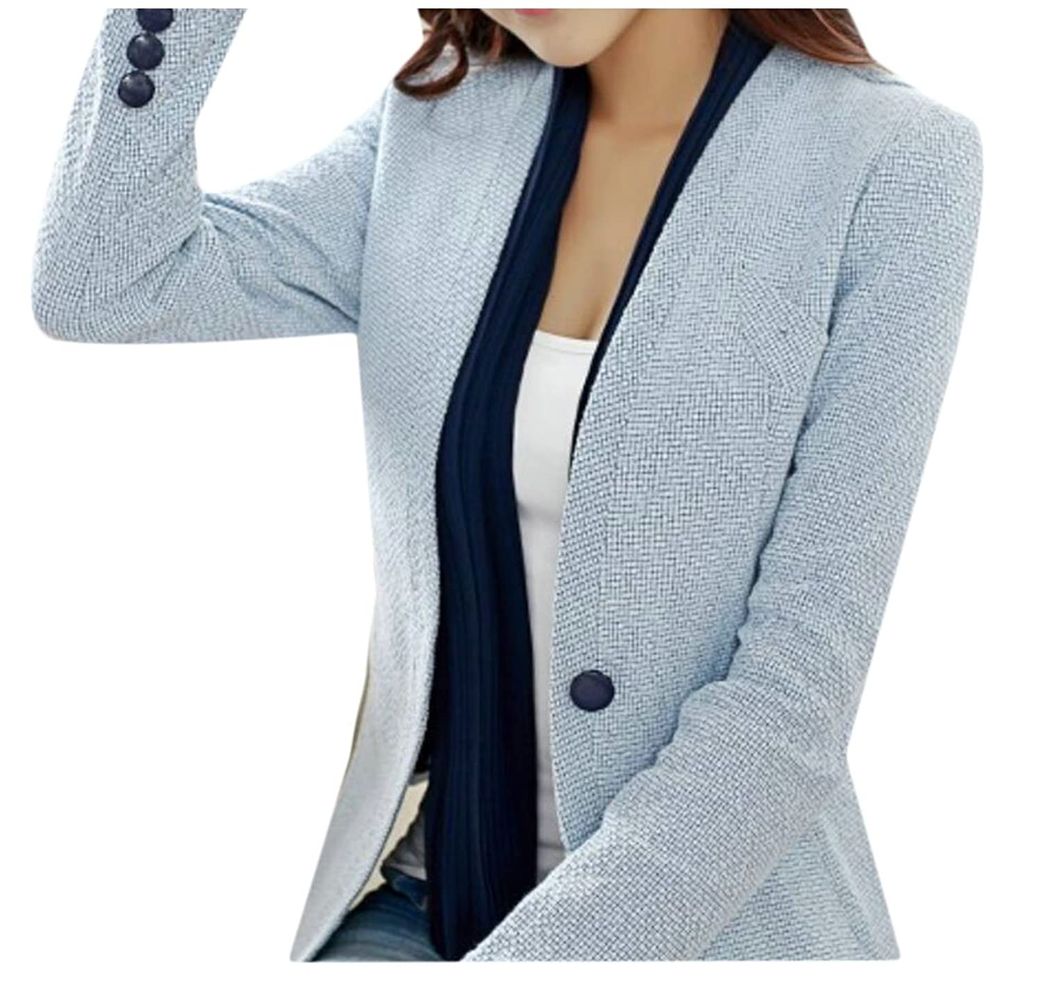 ainr Women's Button Down Long Sleeve Official Coats Suits Blazer Jackets free shipping