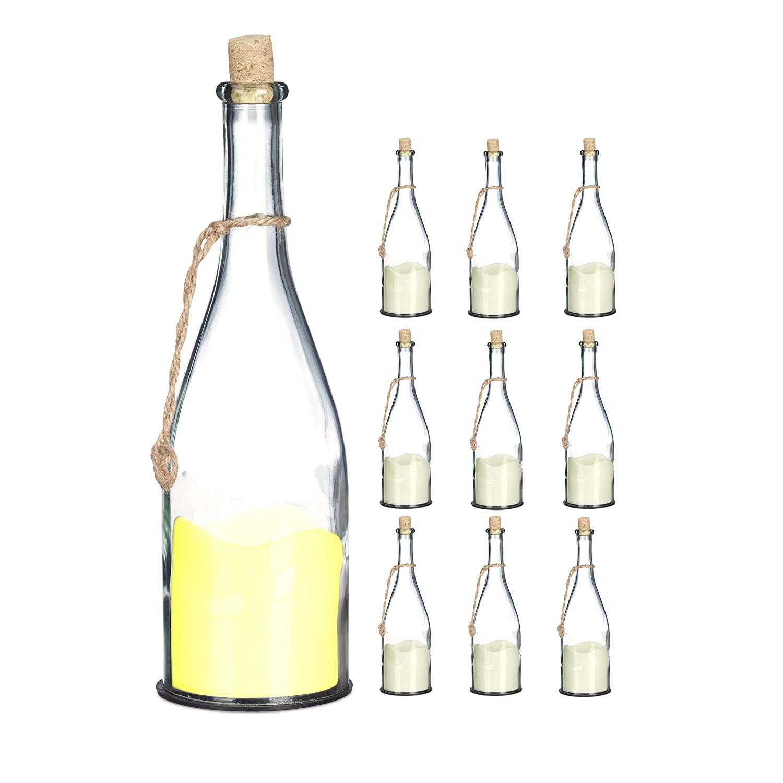 Creme Flaschenlicht Relaxdays Flasche mit LED-Kerze warmwei/ße Flamme Glas 30 cm Dekoflasche mit Stimmungslicht
