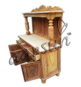 Aarsun TV Trolley Cabinet Unit Designer Antique Style Dual Polish Finish for Home Sheesham Wood