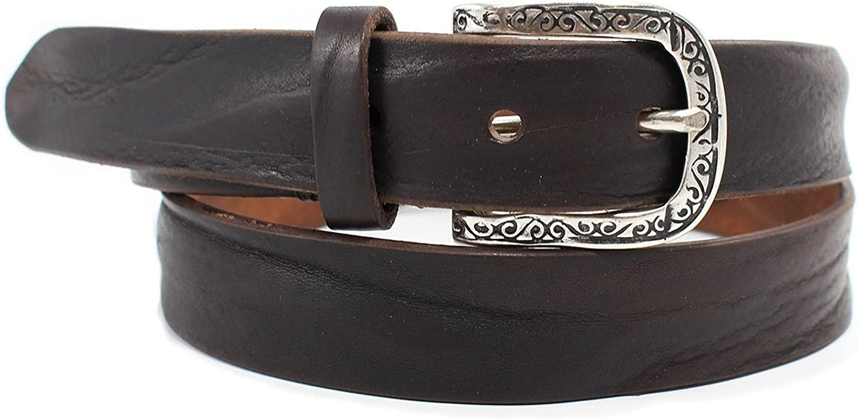 42 Brown Brunocenere Mens 1.25-inch Off Shore Wavy-Leather Belt