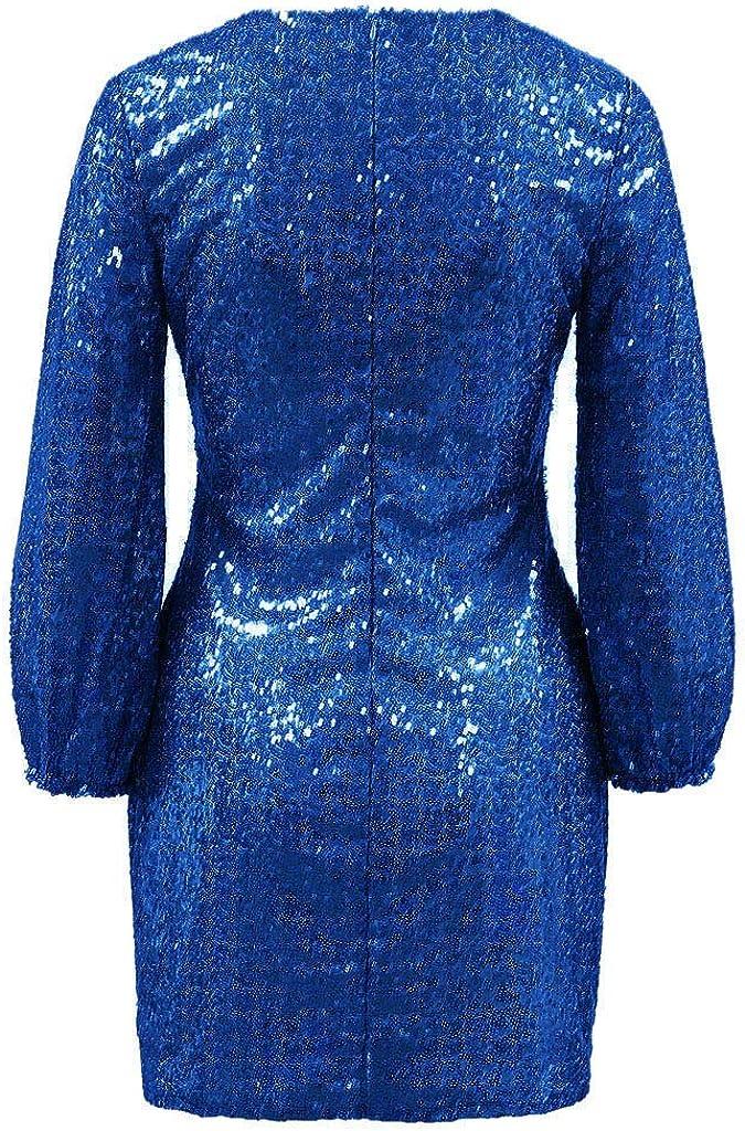 Goosuny Damen Elegant Langarm Bodycon Minikleid Paillettenkleid Kurz Cocktailkleid Abendkleid Partykleider Etui Kleid Mit Pailletten Laternen/ärmel