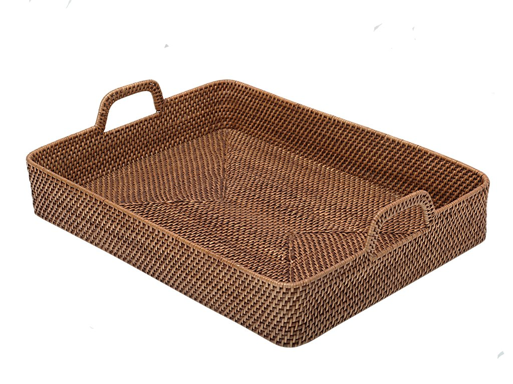 Honey Brown Rectangular Walled Rattan Serving Tray