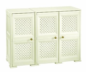 Kreher Kunststoffschrank Wood mit 3 verstellbaren B/öden und sch/önem Holz-Design Ma/ße BxTxH 65 x 38 x 178 cm