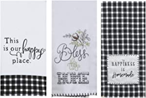 18TH STREET GIFTS Farmhouse Kitchen Towels, Set of 3 - Black and White Buffalo Plaid Kitchen Decor