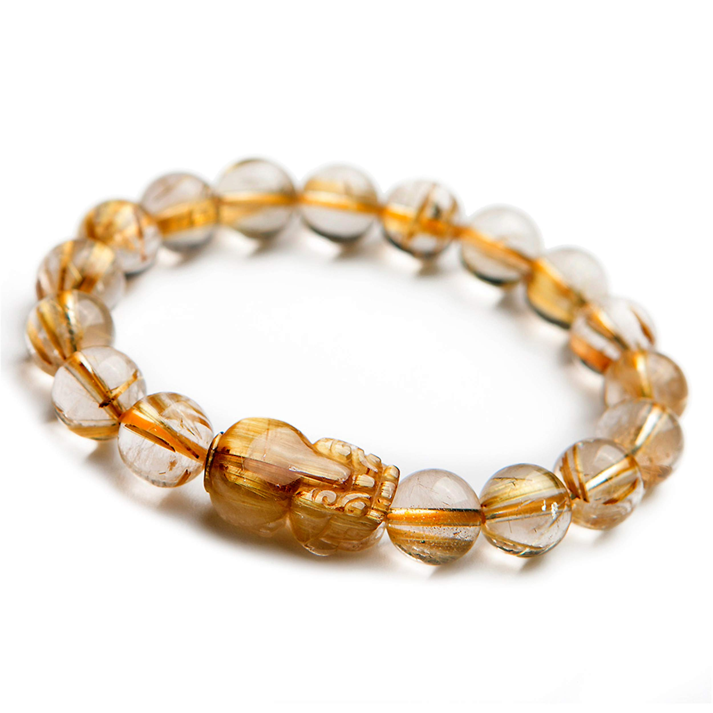 LiZiFang Genuine Natural Gold Rutilated Quartz Crystal Bracelets for Women Men Pixiu Round Bead Bracelet 11mm by LiZiFang