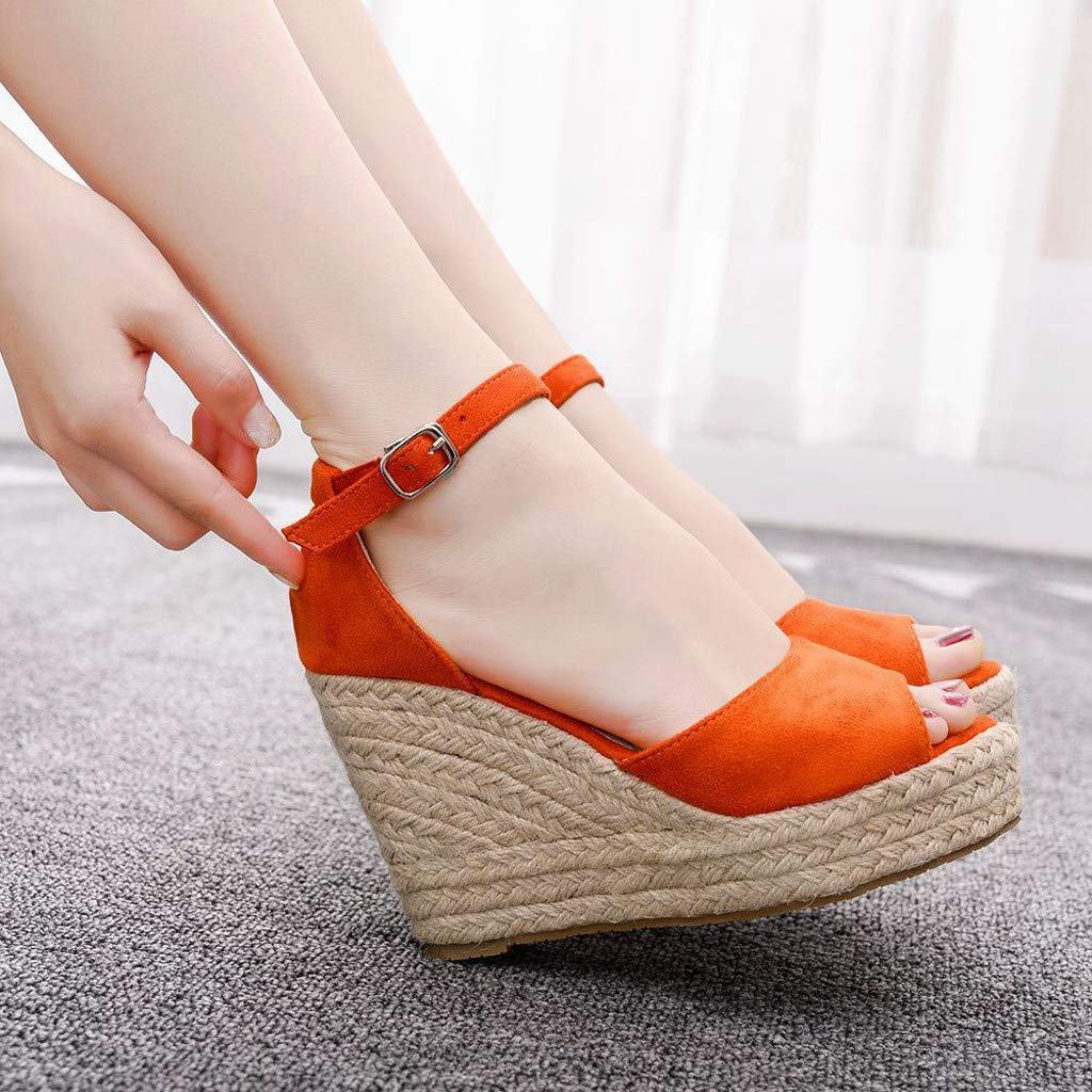 Wedge Sandals for Women,Summer Women Platform Shoes Ankle Strap Espadrille Wedge Heel Sandals (US:6, Orange) by Yihaojia Women Shoes (Image #4)