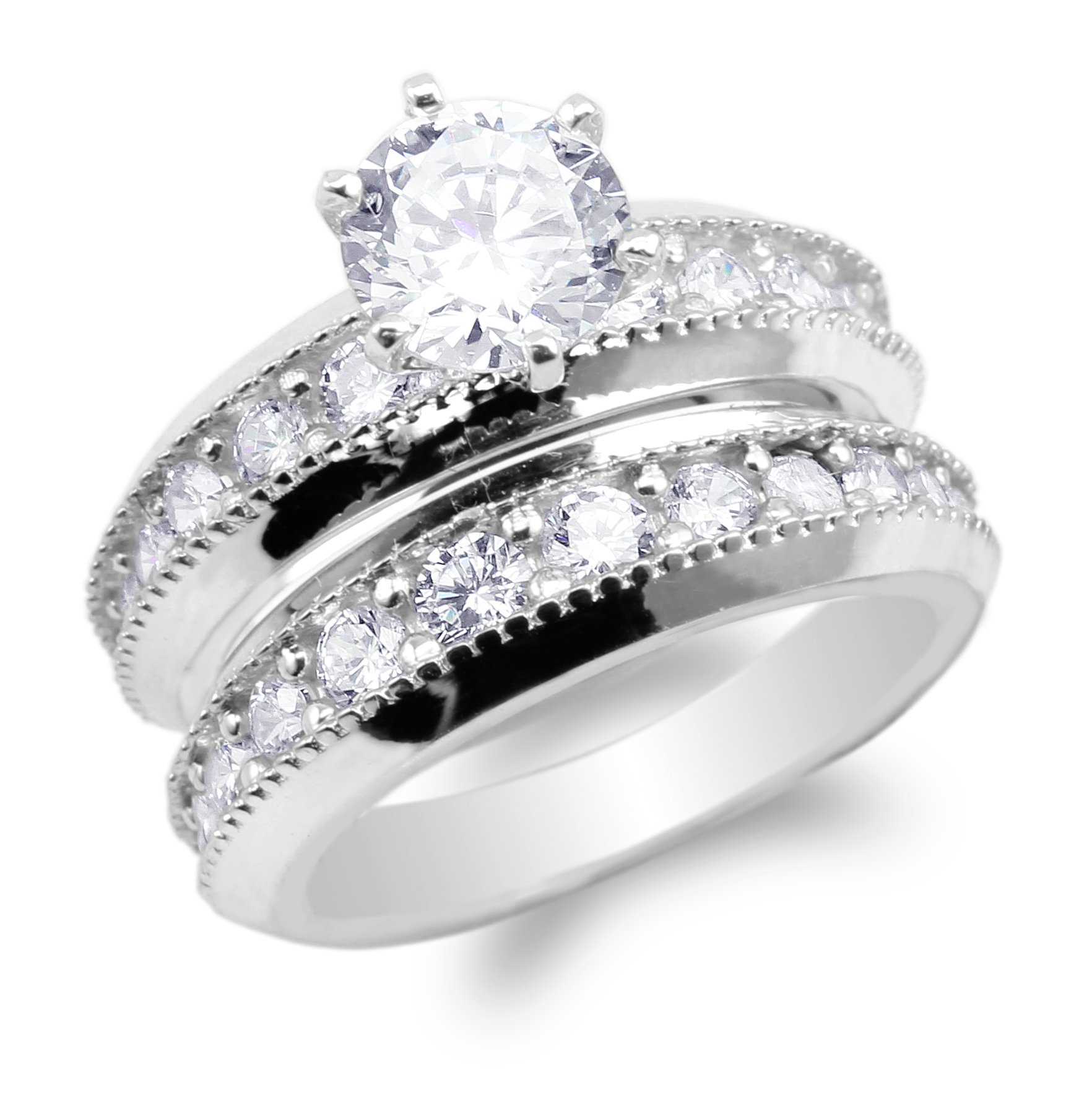 Womens 925 Sterling Silver Set Round CZ Embedded Wedding Solitaire Ring Size 9.5