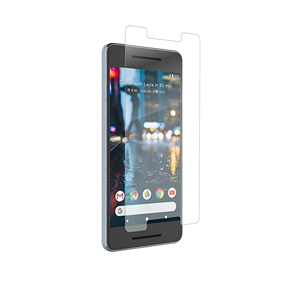 Zagg Invisible Shield Glass+ Screen Protector -Fits Google Pixel 2 -Extreme Impact & Scratch Protection -Easy to Apply - Clear