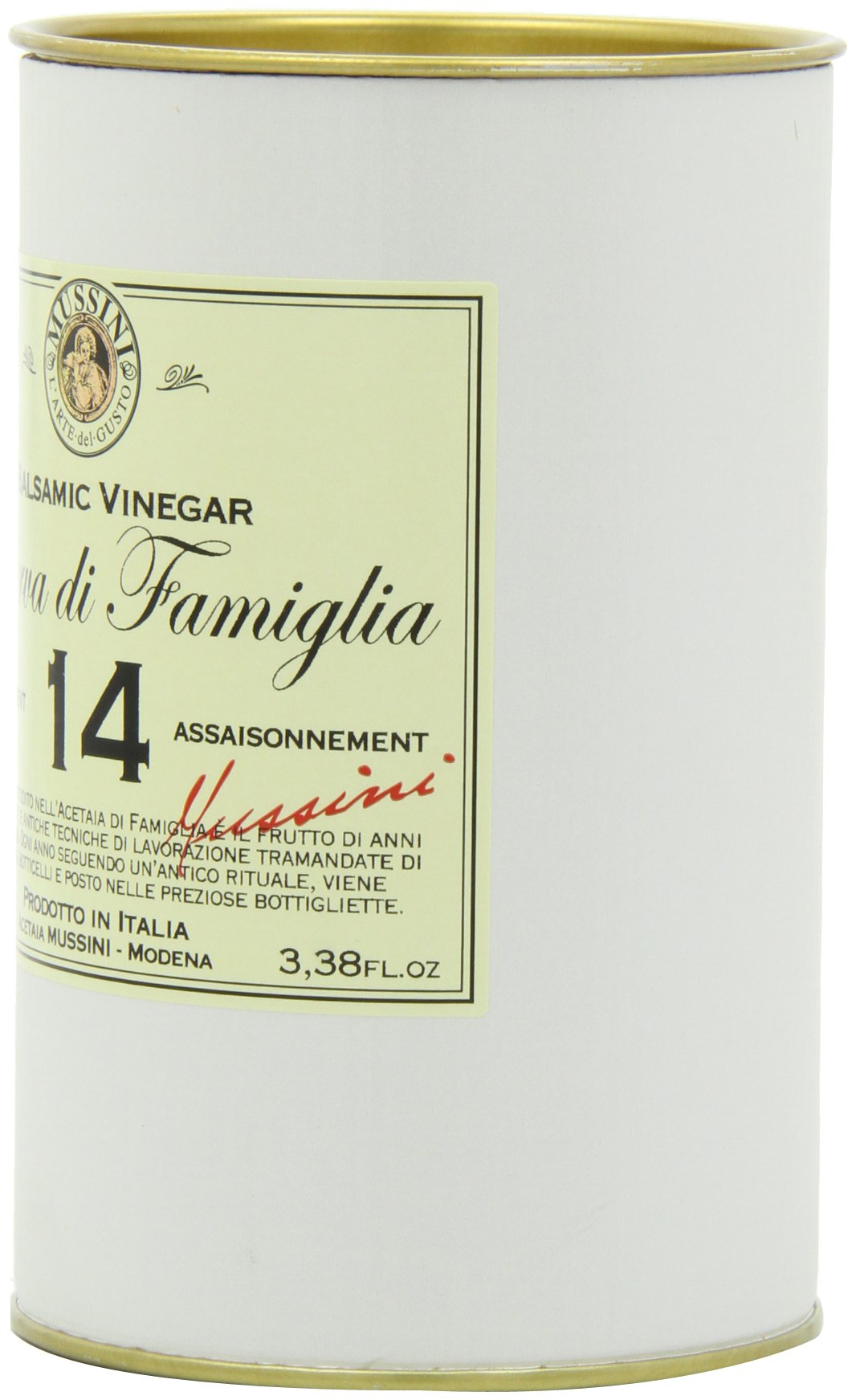 """Italian 14 year""""riserva di famiglia"""" balsamic vinegar, 3. 4 ounces 3 save money with pack sizes made in small batches produced by mussini in italy"""