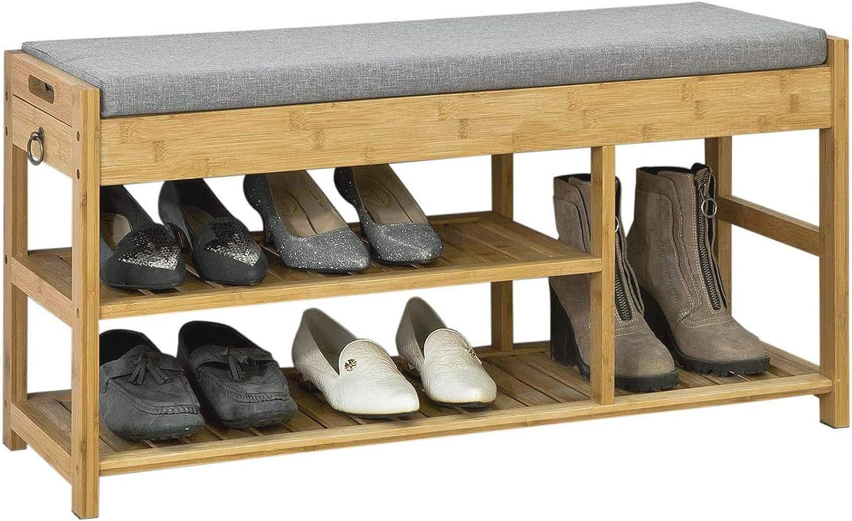SoBuy/® FSR47-N /Étag/ère /à Chaussures avec Tiroirs Lat/éraux Banquette Si/ège pour Chausser Rangement Chaussure en Bambou L90xP30xH45cm