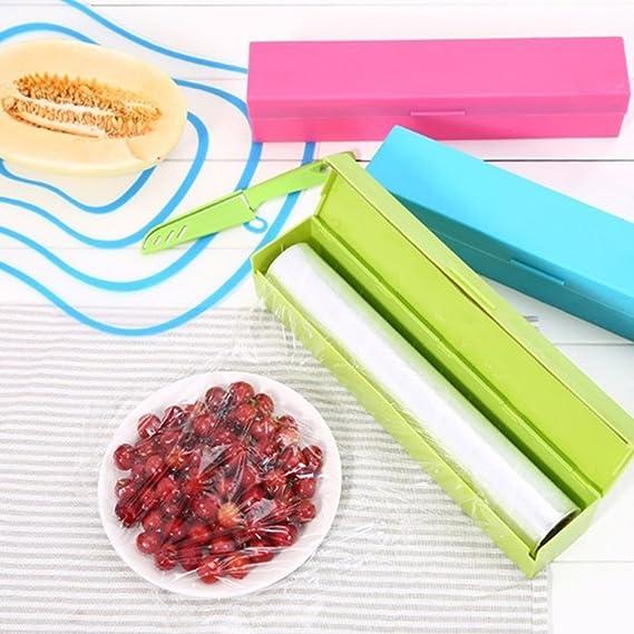 Vwh cortador de papel film cortador Dispensador Wrap de plástico de almacenamiento Holder rosa (b): Amazon.es: Hogar