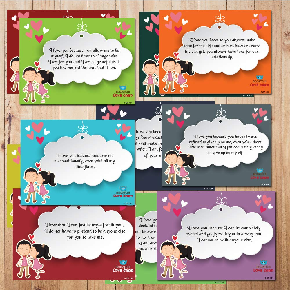 BOGATCHI Chocolates Free with Set of 101 Love Cards, 101