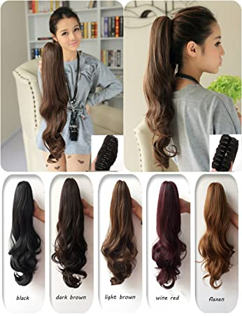 Amazon claw clip synthetic wavy ponytail hair extension claw clip synthetic wavy ponytail hair extension 2colors available pt025 one size brownish pmusecretfo Gallery