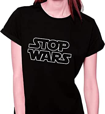 Stop Wars Black & White Round Neck T-Shirt For Women