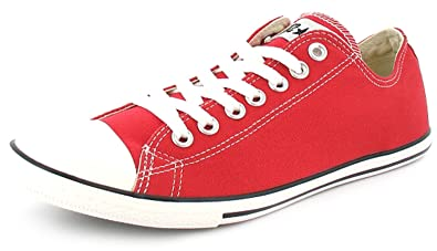 ee06ff9cd8a Unisex Red Converse Low Cut Chuck Taylor All Star Slim Plimsoles - Red - UK  SIZE