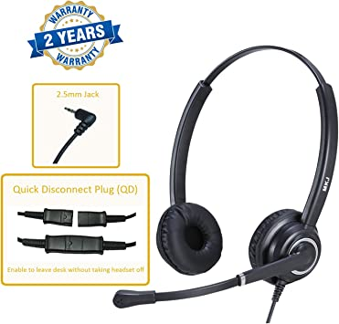 Amazon Com Mkj Corded 2 5mm Headset Landline Telephone Headset With Microphone For Panasonic Polycom Cisco Linksys Spa Gigaset And Other Dect Phones Home Audio Theater