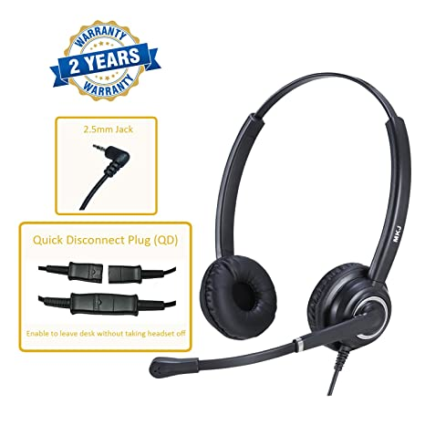 MKJ Corded 2 5mm Headset Landline Telephone Headset with Microphone for  Panasonic Polycom Cisco Linksys SPA Gigaset and Other Dect Phones