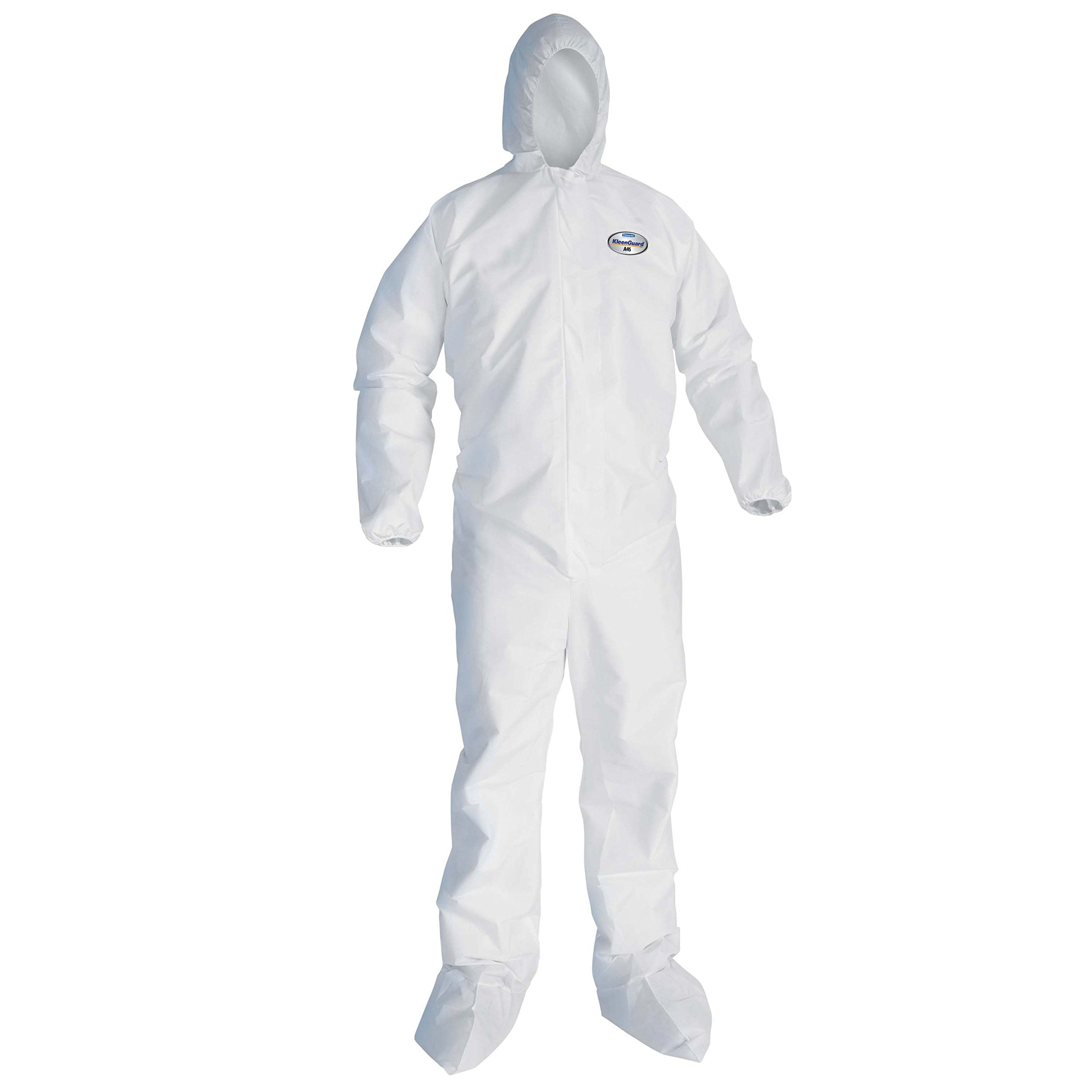 Kleenguard 41516 A45 Liquid and Particle Protection Surface Prep and Paint Apparel, EWA, Hooded, Booted, X-Large, White (Pack of 25)
