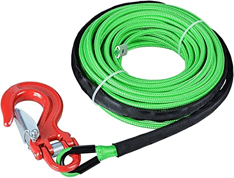 Synthetic Winch Rope String Line Cable 1//4 50ft 8300LBs ATV UTV SUV Jeep Truck Boat Towing Synthetic Winch Recovery Rope Red